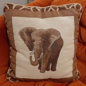 Elephant Embroidered Throw Pillow